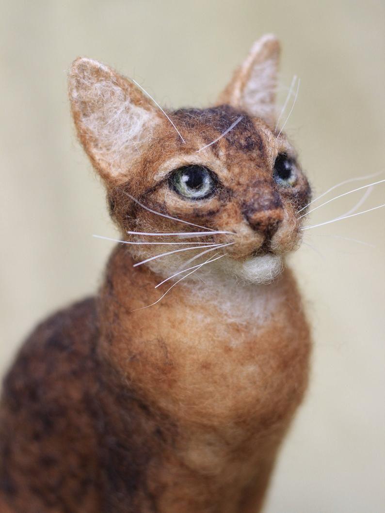 Needle felted cat custom portrait of your pet 1112 month