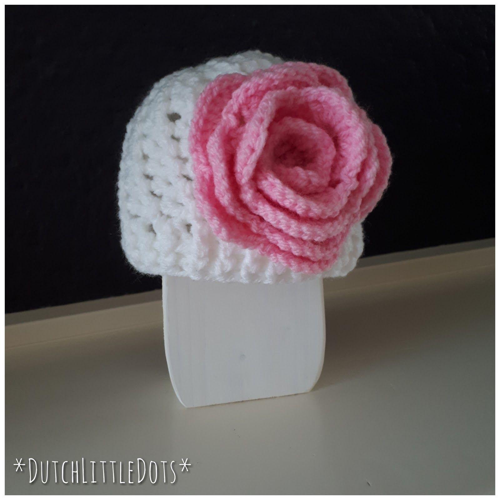 Loopy Love Muts Hat Met Bloem Roos Rose Flower Haakpatroon Haak