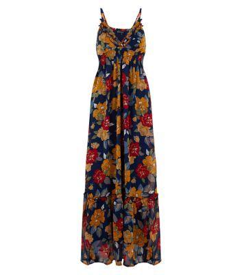 Mela Navy Floral Print V Neck Maxi Dress