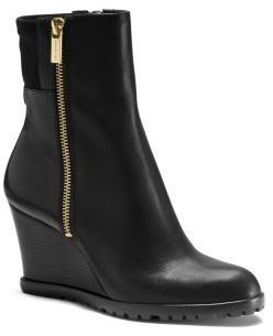 0cfd52a042f $225, Black Leather Wedge Ankle Boots: MICHAEL Michael Kors Michl Michl Kors  Aileen Vachetta