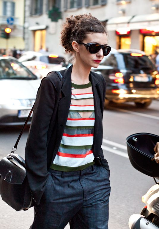 slouchy pants with striped top & jacket  #streetstyle