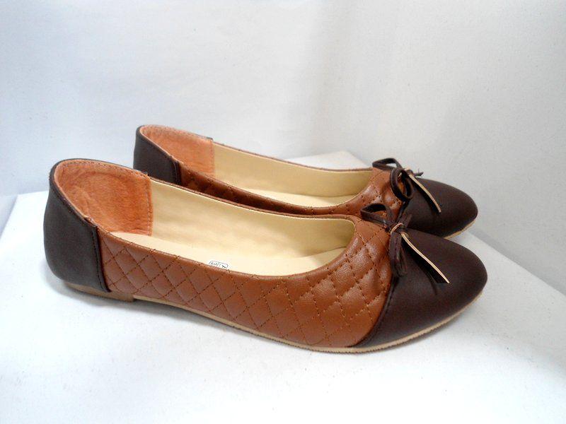 Flat Shoes Ribbon Opp38 Flat Sepatu Pita Bahan Golssy Dan Kulit