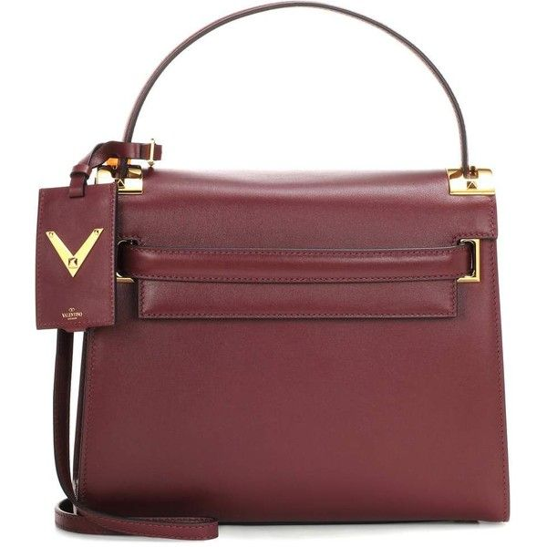 Valentino My Rockstud Leather Shoulder Bag ($2,560) ❤ liked on Polyvore featuring bags, handbags, shoulder bags, red, red leather shoulder bag, leather handbags, leather shoulder bag, burgundy leather handbags and burgundy purse