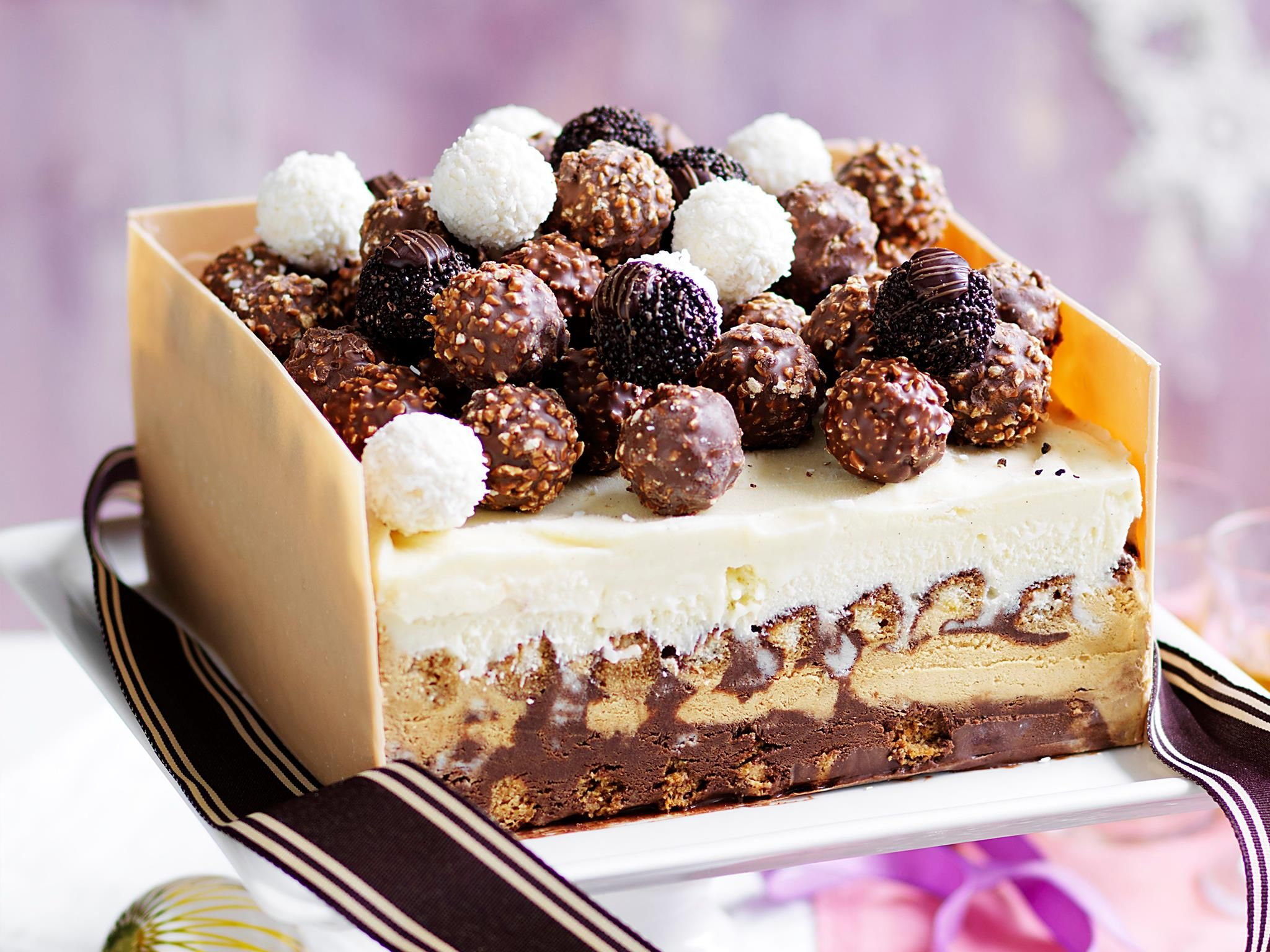 Tiramisu Ice Cream Box Cake With Ferrero Rocher