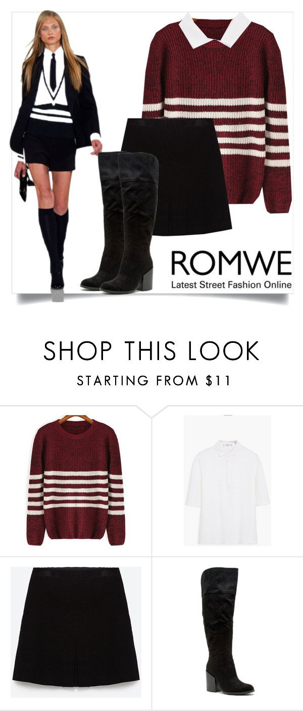 """""""#red #romwe #sweater #contest"""" by mrs-rc ❤ liked on Polyvore featuring MANGO, Zara, Ralph Lauren and Qupid"""