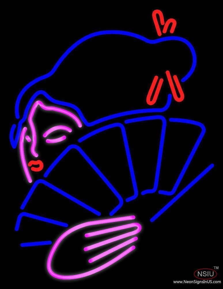 Japanese girl with fan handmade art neon sign in 2020