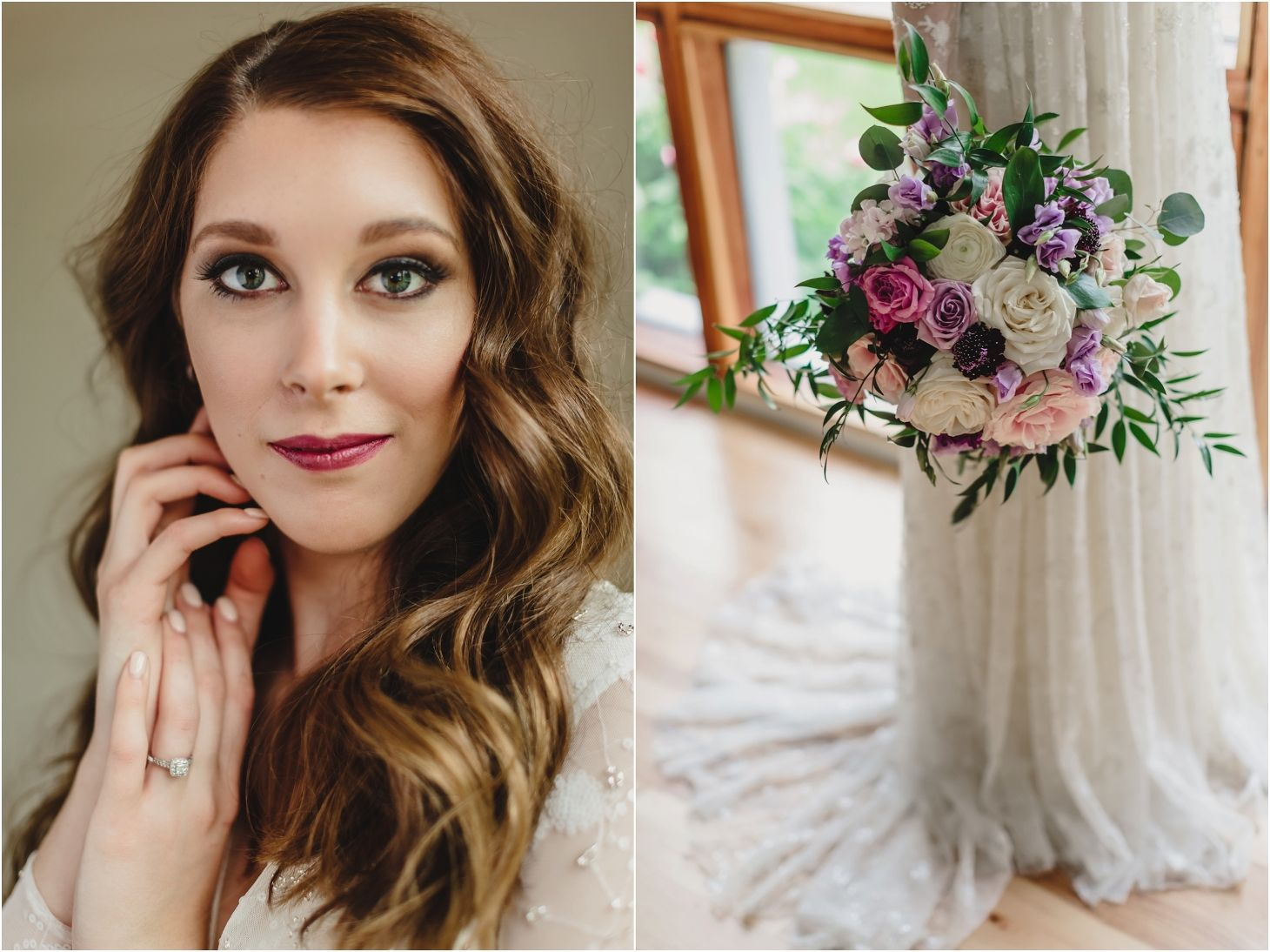 bridal hair and makeup for a brunette, and a wedding bouquet