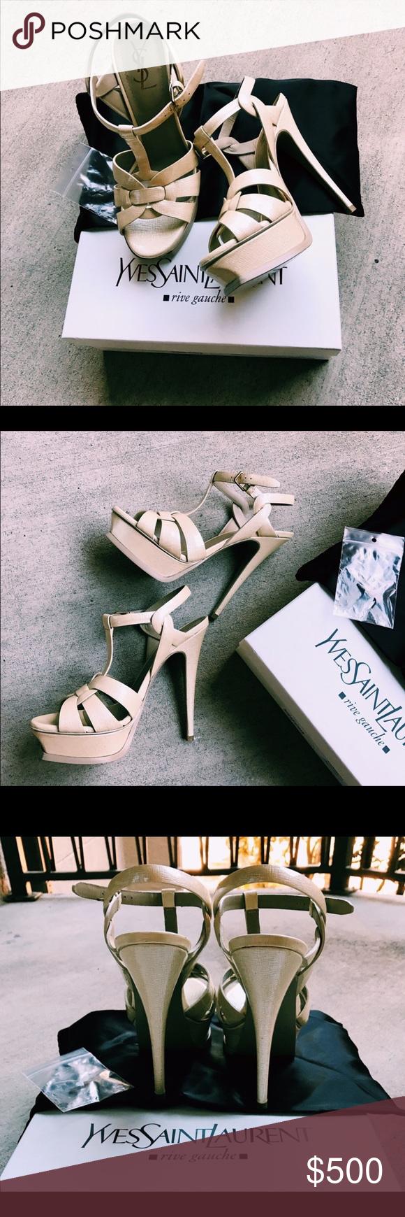8f86a7463d7 Yves Saint Laurent Tribute 105 Sandals Nude Patent Classic authentic  Tribute sandals