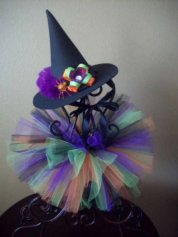 Halloween Witch Tutu with Matching Witch Hat by SweetiesTutuShop - halloween decorations witch