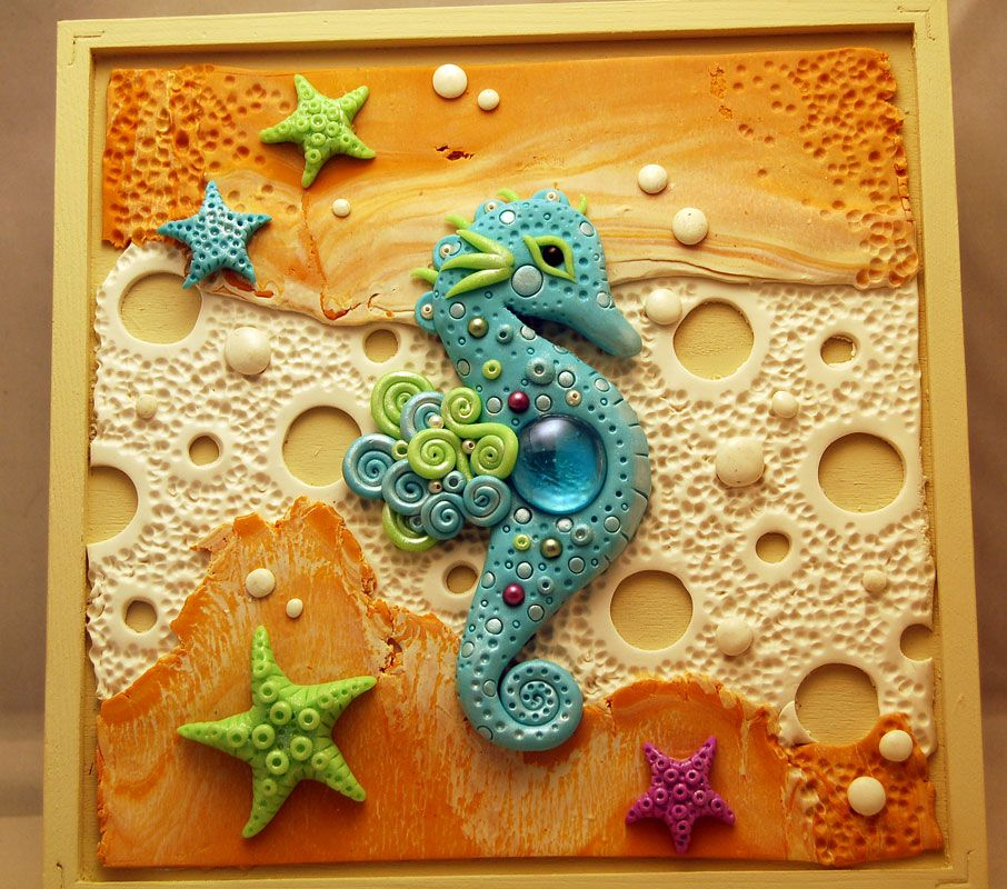 Ooak Polymer Clay Sea Horse Trinket Box | Polymer clay, Polymers and ...