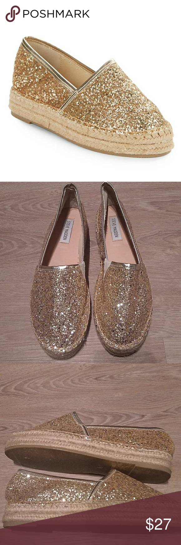 e25ca3477d1 New Steve Madden Luuka Gold Espadrilles Shoes True to size. - Round toe -  Allover gold glitter detail - Slip-on - Imported.Floor sample from store  display ...