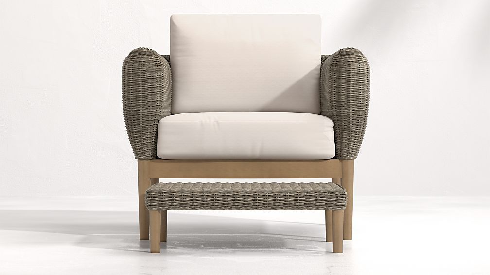 Doren outdoor wicker lounge chair and ottoman in 2020