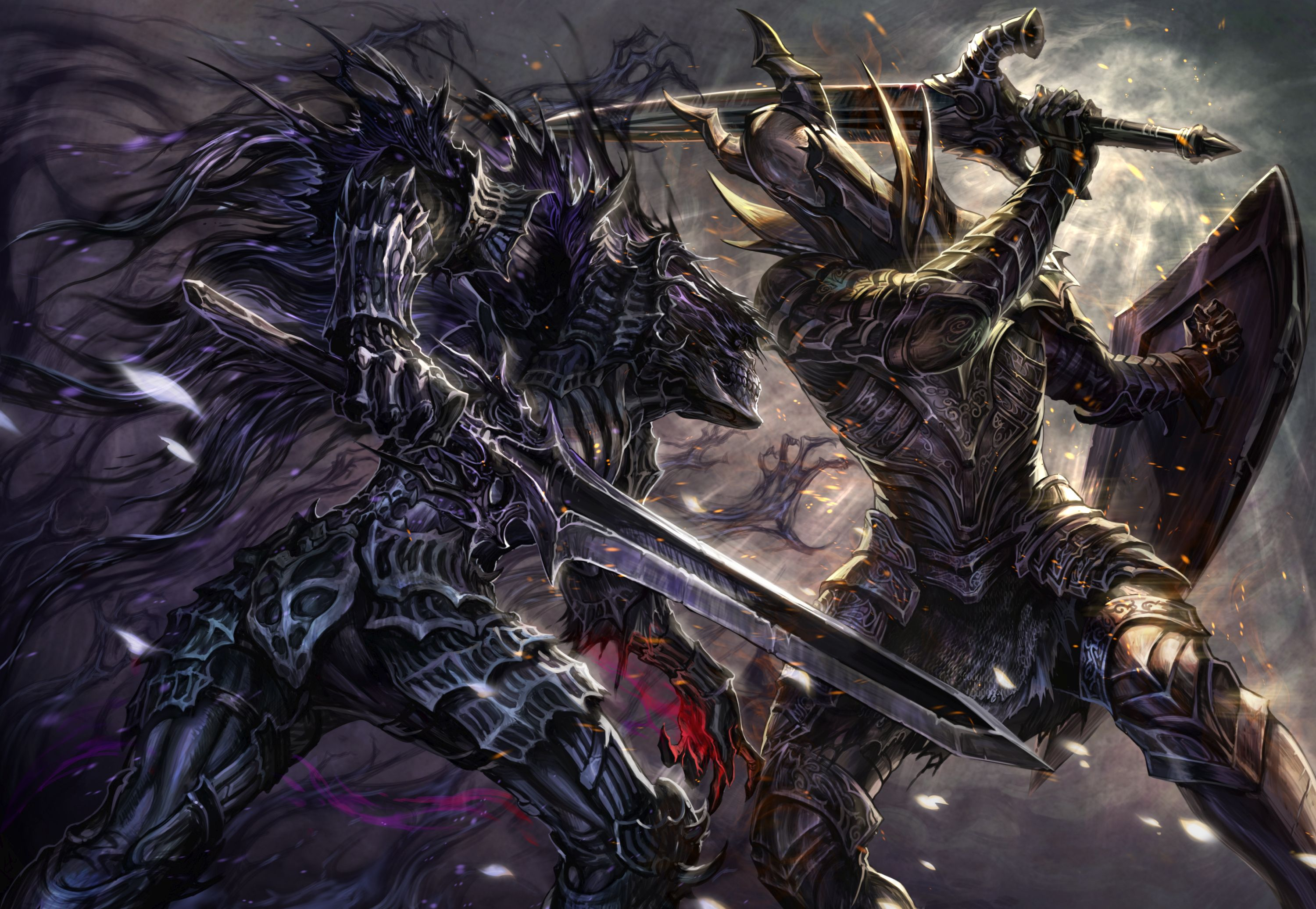 Safebooru 2boys Armor Battle Black Knight Dark Souls Cape