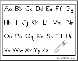 Chart: Manuscript Aa-Zz with arrows (ZB-Style Font