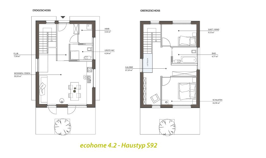Ecohome42 kleinhaus typs grundriss casa bonita for Minimalistisches haus grundriss