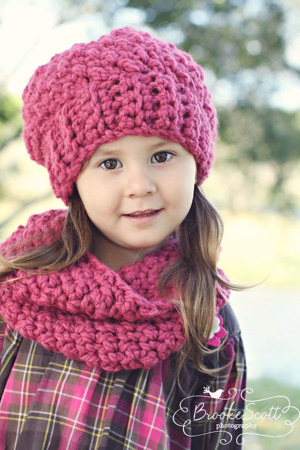 Childrens Crochet Hat & Scarf Set Slouchy Hat and Infinity Scarf ...
