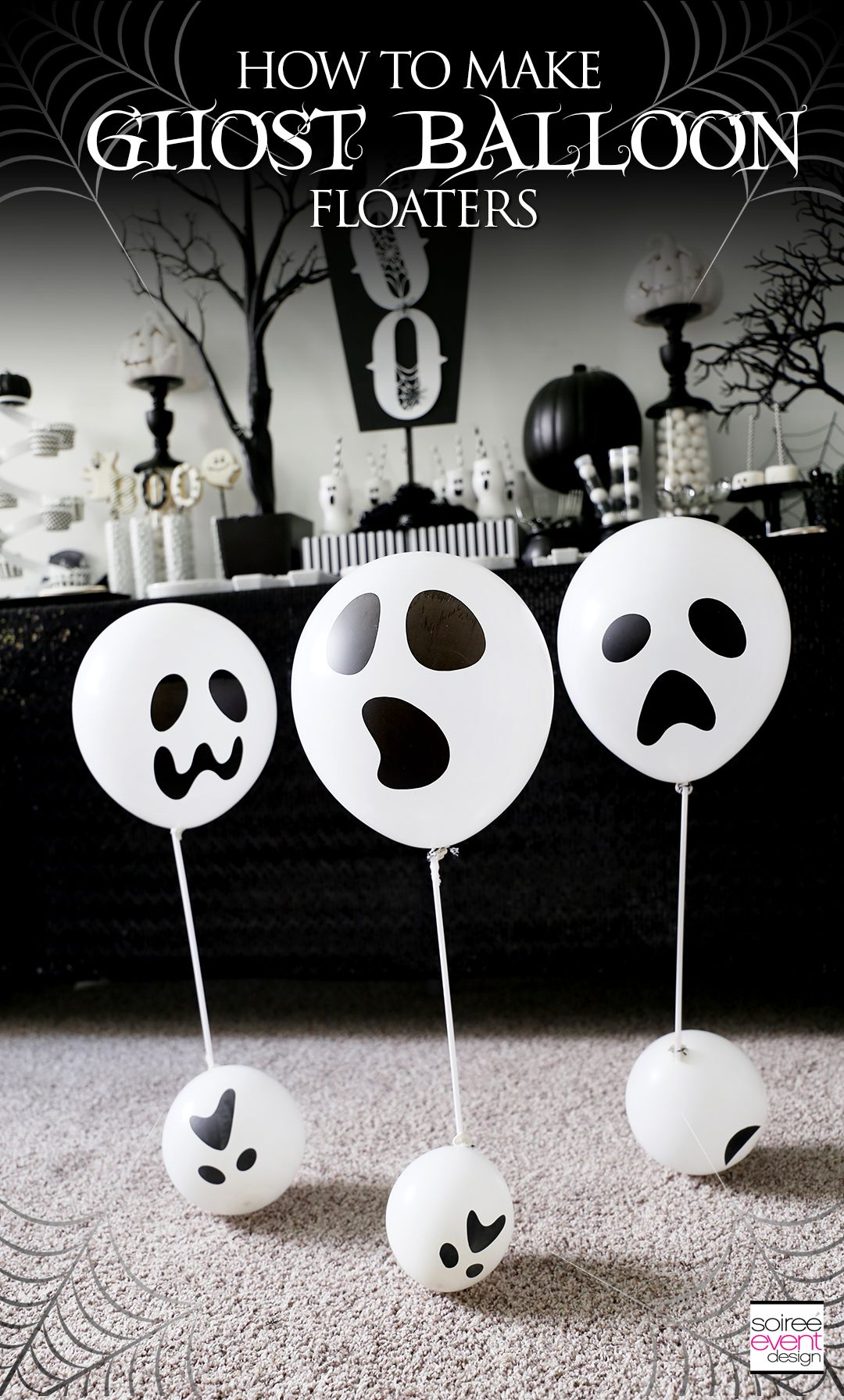 DIY Ghost Balloon Floaters Halloween Decorations Halloween parties - Ghost Halloween Decorations