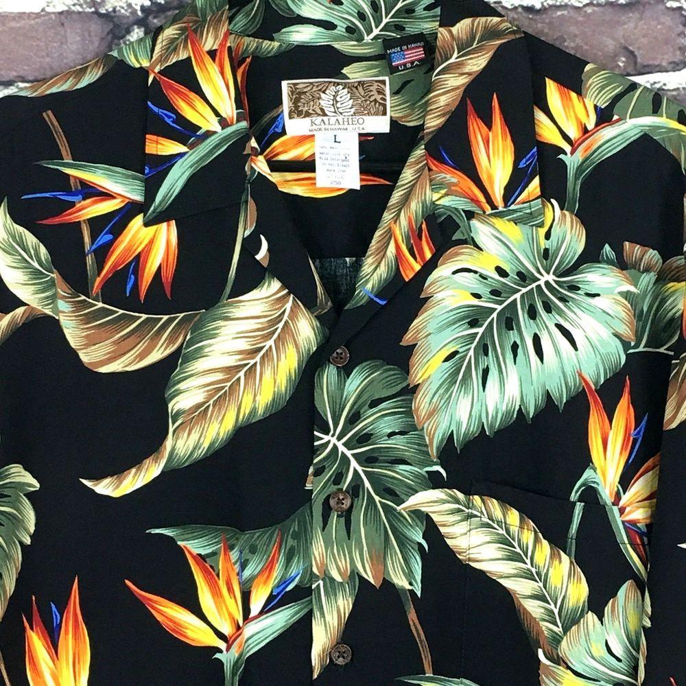 Kalaheo Mens Tropical Leaf Authentic Hawaiian USA Shirt