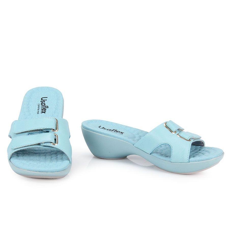 88582a4db0 Feminino - Tamanco Anabela Feminino Usaflex I2916 - Azul - Passarela.com -  Calçados online