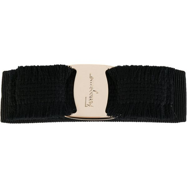 Salvatore Ferragamo logo ribbon hair clip - Black mpHbt0