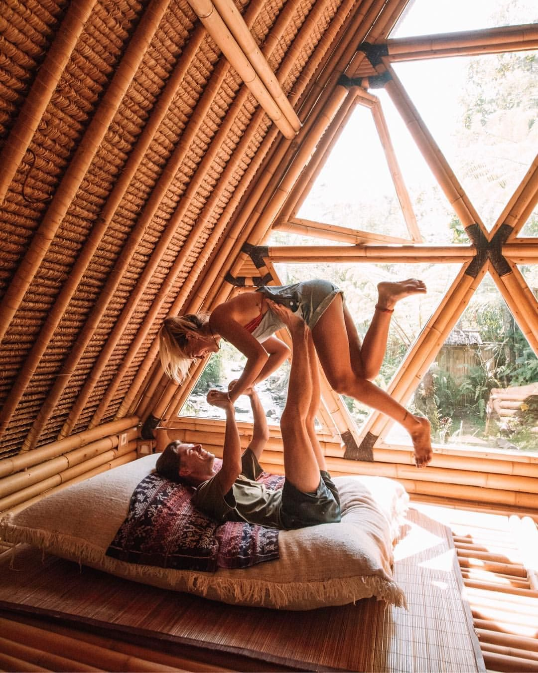 Hideout Bali - Hideout Beehive Bali - Bamboo Home - Quirky Accommodation - Cool Hotels Bali - Bali Swing - Instagram Spots Bali - East Bali Indonesia - Wanderers & Warriors - Charlie & Lauren UK Travel Couple - Rice Terraces - Rice Fields - Sunrise Sunset - Dress - Style - Cap - Boyfriend - Girlfriend - Palm Trees