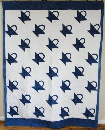 Rich Indigo Blue and White Applique Basket Quilt Antique C1880 | eBay, vintageblessings