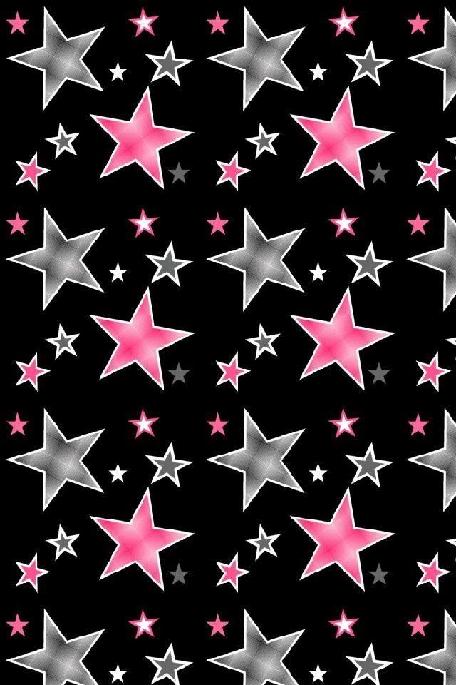 Black With Stars Star Wallpaper Glitter Wallpaper Heart Wallpaper