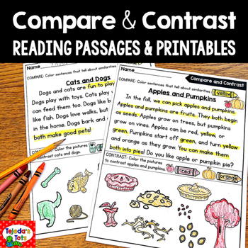 This Pack Includes Reading Passages And Printables To Practice The Compare And Contrast Comprehension Strategy Reading Passages Compare And Contrast Reading Compare and contrast reading worksheets
