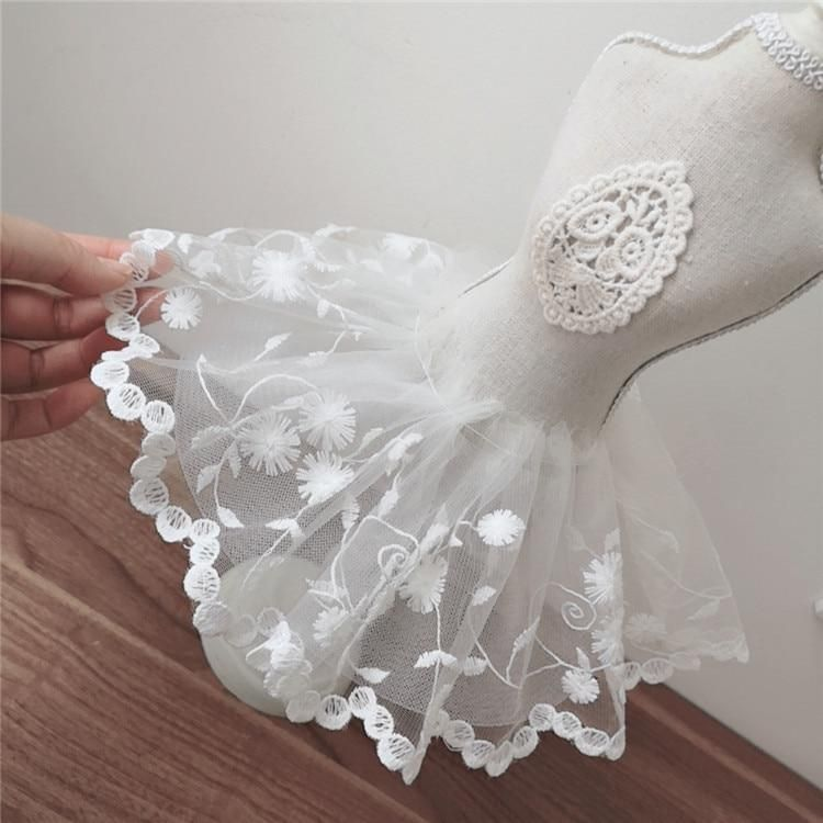Photo of 12CM Wide White Tulle Mesh 3d Flower Fabric Embroidery Lace Guipure Trim Ribbon Wedding Dress DIY Apparel Sewing Crafts Supplies