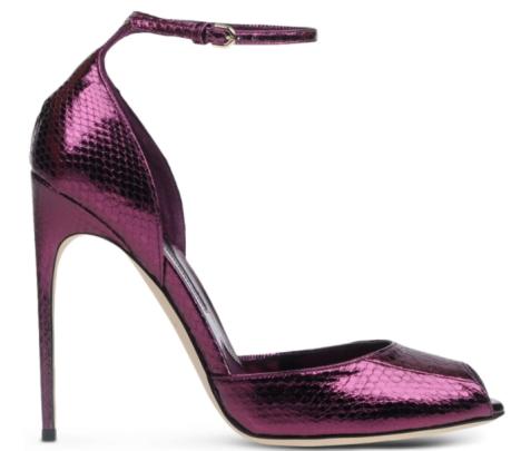 Escarpins à bride en serpent métalisé violet, prune, Brian Atwood, noel  réveillon