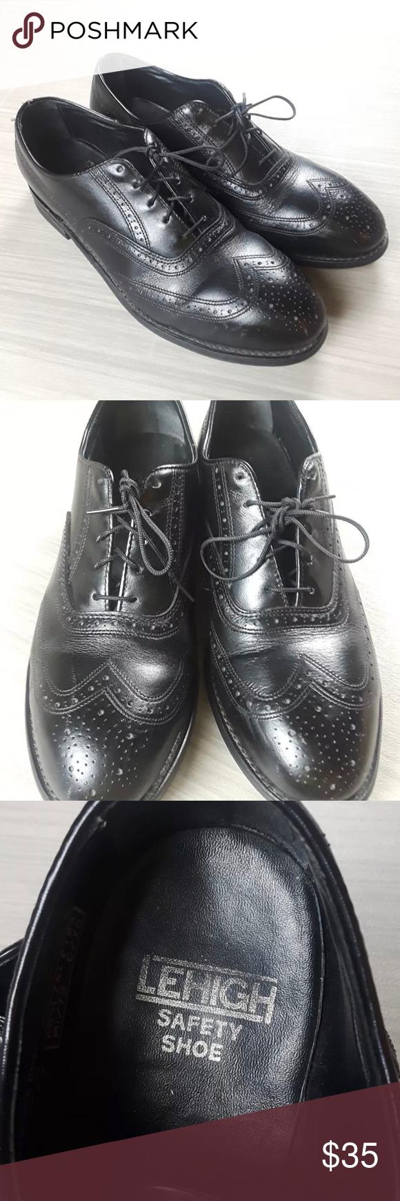 Lehigh Safety Toe Black Leather Oxfords Men's 9.5D Lehigh