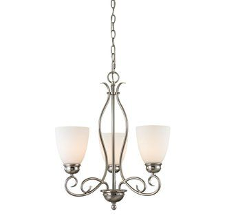 Cornerstone Lighting 1103CH Chatham 3 Light 1 Tier Chandelier With Frosted  Glass Shades Image