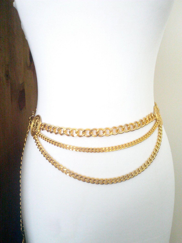8846a45d7 80's Gold Gilt Metal Triple Chain Medallion Belt / Women's Size S/M /  Vintage Accessories by JulesCristenVintage on Etsy