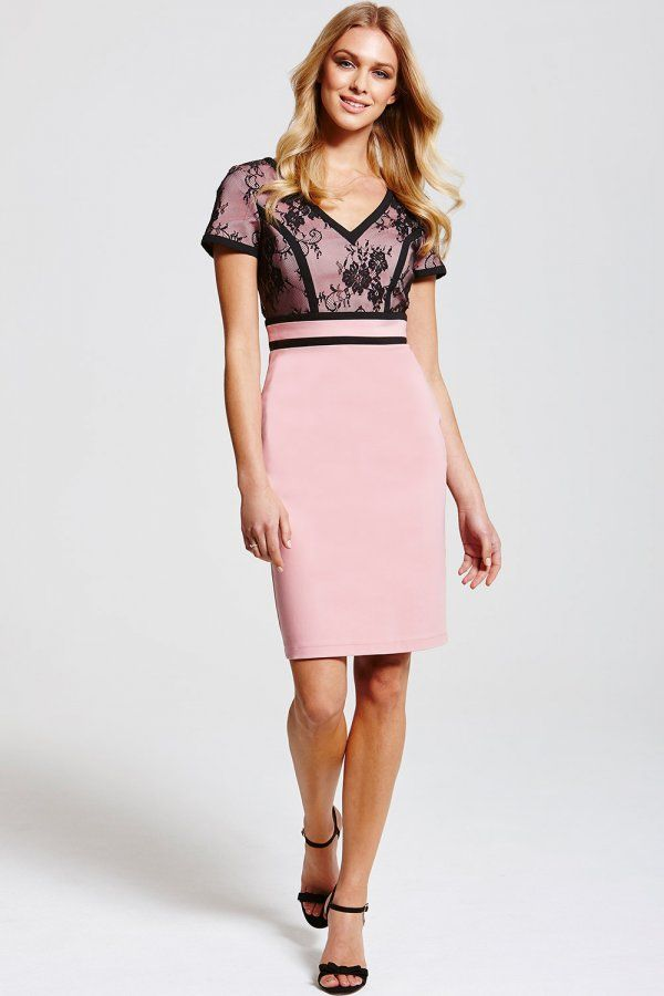 166358a39dd Outlet Paper Dolls Pink and Black Lace Top Dress