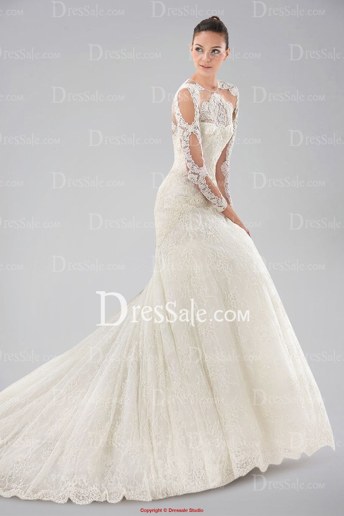 A To Die For Queenly Long Sleeve Wedding Gown with Lace Overlay and ...