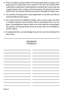 Lottery Pool Agreement Form Free Lottery Pool Contract