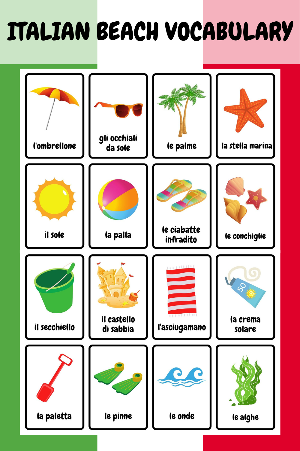 These Italian beach flashcards are great for kids and Italian beginners! -- Learn 32 words that you can use practice throughout the summer during your visits to the beach. -- Great for homeschooling in Italian or for extra practice. -- Lots of more Italian flashcards available in my Etsy shop! -- #happymaplelanguageco #etsy #flashcards #etsyfinds #learnitalian #homeschooling #italianforkids #italian #italianlanguage #teacher #education #etsyshop