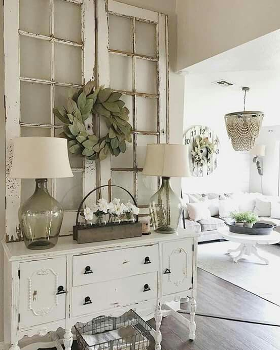 Window pane decor For the Home ♡ in 2019 Farmhouse