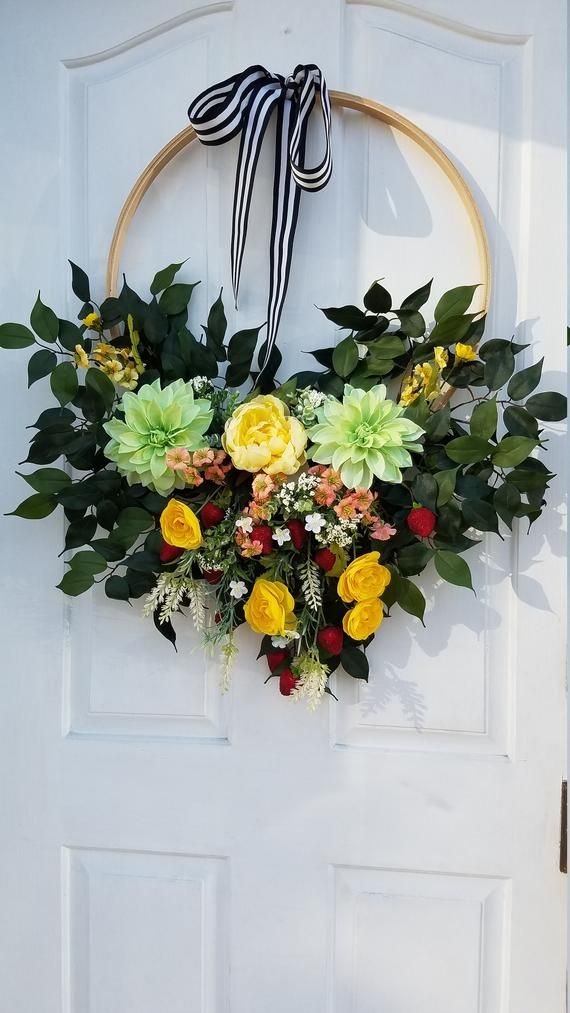 Photo of Summer wreath for front door, modern tire wreath, flower wreath, summer door wreath