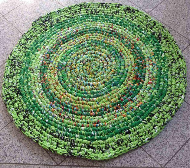 Wohnaccessoires Teppich Rund Gehäkelt Grün Aus Textilgarn Ein