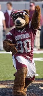 Monte, the University of Montana's mascot, shows off his ...