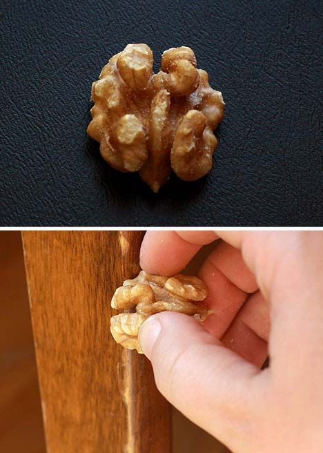 Rub a walnut on damaged wooden furniture to cover up dings!