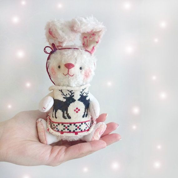 Teddy Rabbit in Sweater  5inches by KittyAprilHandmade on Etsy