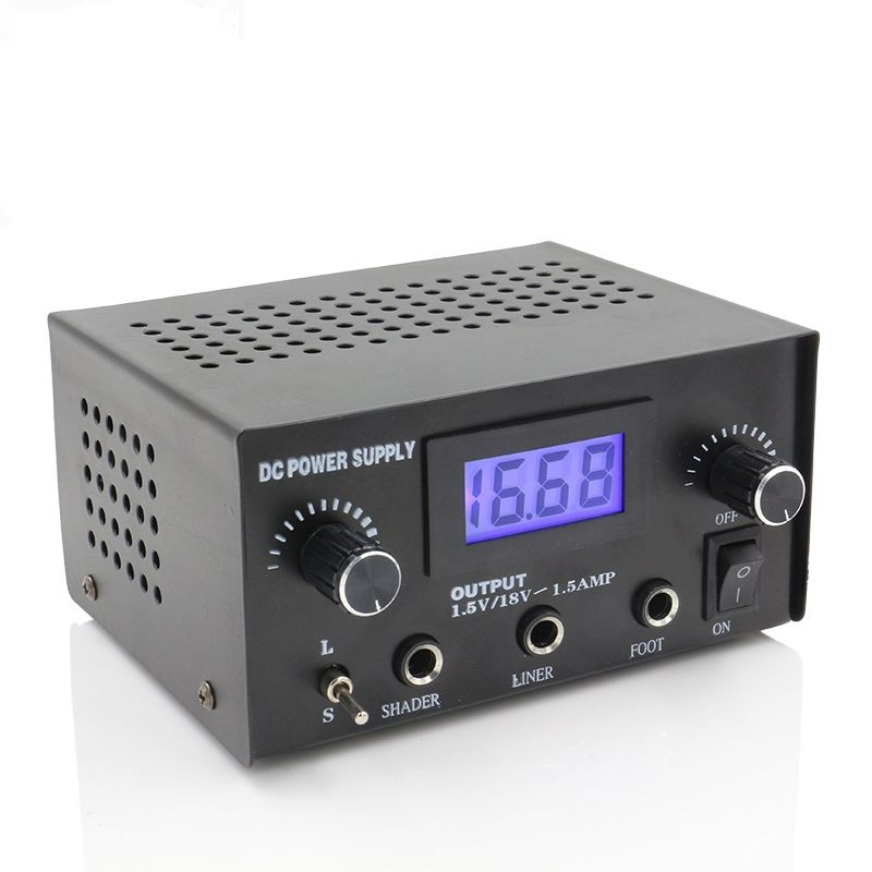 Black 1pc professional digital lcd tattoo power supply for