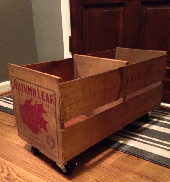 Large Vintage Orange Crate On Casters. Autumn Leaf Valencias From Aneheim,  CA. Great