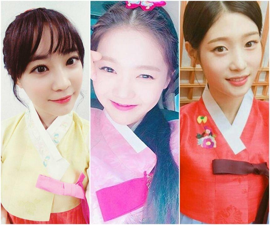 [테마]한복 입고 추석 인사한 걸그룹 멤버 3인허영지-효정-정채연 #topstarnews