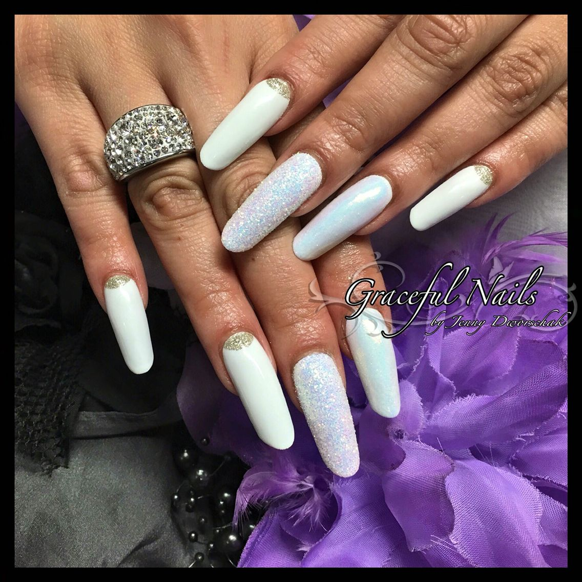 New Style Nails weiß Fullcover Meerjungfrauenpigment Sugardesign ...