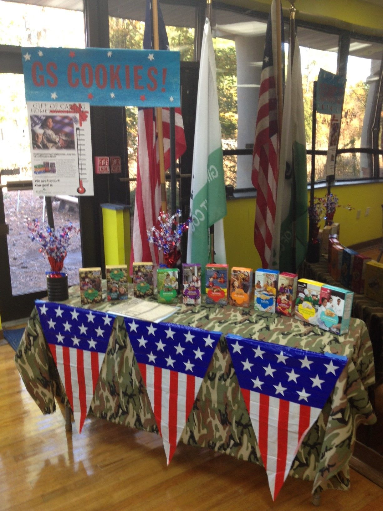 Girl scout scrapbook ideas - Decorate Your Girl Scout Cookie Booth To Promote The Hometown Heroes Gift Of Caring Program Hamman Good Idea For Next Year
