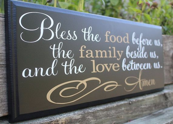 bless the food before us wood sign-dining room wall decor-dining