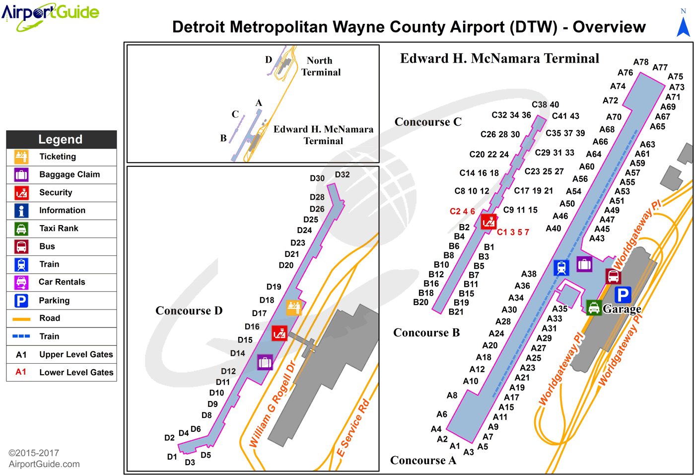 dtw north terminal map Detroit Detroit Metropolitan Wayne County Dtw Airport Terminal dtw north terminal map